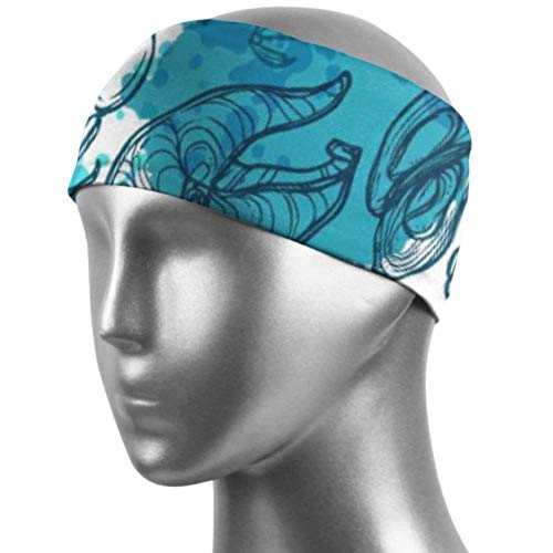 ZWHSY Banda para el cabello Headbands for Adults Japanese Style Ocean Delicious Seafood Elastic Band for Hair Unisex Moisture Wicking Non Slip for Sports Fitness Working Out Gym Yoga Running