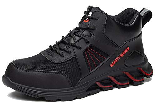 SUADEX オシャレ安全靴ハイカット 黒赤 あんぜん靴ブーツ 作業靴 ミドルカットショートブーツ 安全 作業はいカット 安全半長靴 鋼先芯 耐摩耗 ケブラー防刺 耐滑