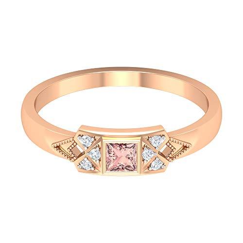 Anillo de morganita creado en laboratorio de 1/4 quilates, anillo de diamante HI-SI, anillo solitario de corte princesa de 3 x 3 mm, anillo de compromiso vintage, oro de 14 quilates. rojo