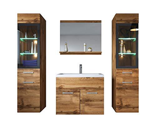 Badezimmer Badmöbel Set Rio XL LED 60cm Waschbecken Wotan (Braun) - Unterschrank 2X Hochschrank Waschtisch Möbel