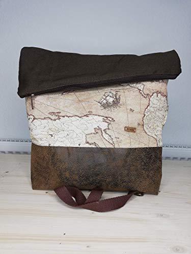 Foldover Big Handtasche Umhängetasche Tasche Weltkarte Weltkartenserie
