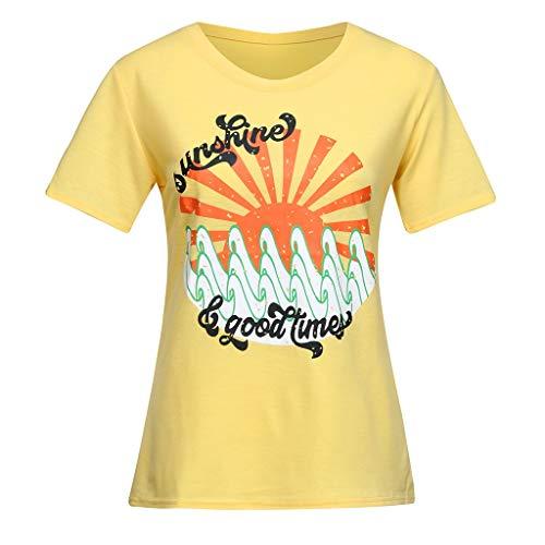 Skang Tops - Camiseta de Manga Corta para Mujer, diseño con Texto en inglés Good Time Wave