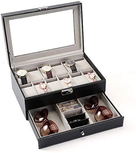 Reloj Organizador Doble Reloj Organizador Anillo Anillo Collar Pendientes Joyas Caja de visualización para Relojes y Joyas (Color: Negro, Tamaño: 30x20x13cm) (Color : Black, Size : 30x20x13cm)