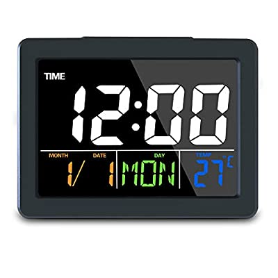 GLOUE Digital Alarm Clock with USB Port for Charging Snooze Function, Timer, Sound Control Function, 12/24Hr, World time Pattern, Month Date & Temperature Display