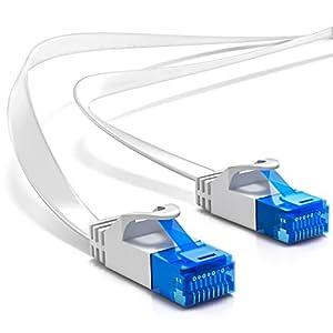 deleyCON 10m CAT6 Cable de Red Plano Cable de Cinta de 1,5mm U-UTP RJ45 - Cable de Conexión UUTP para DSL LAN Conmutador de Módem Panel de Conexión de Repetidor - Blanco
