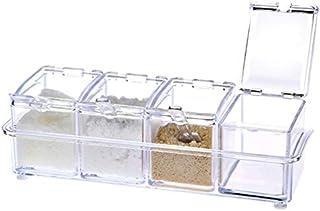 WZHZJ Set de Cuisine Condiments Box Organisateur Boîtes de Rangement épices Assaisonnement Pot Transparent Sucre sel Boute...