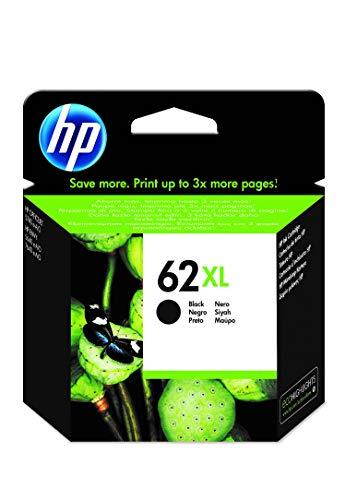 HP 62XL C2P05AE, Negro, Cartucho de Tinta de Alta Capacidad Original, compatible con impresoras de inyección de tinta HP ENVY 5540, 5640, 7640; OfficeJet 200, 250, 5740