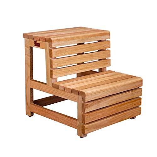 Kylin-g Hölzerner Tritthocker, klassisches Holzdesign passt gut zu Wohnaccessoires, große Trittstufen bieten Komfort und Sicherheit, einfache Aufbewahrung und Sicherheit