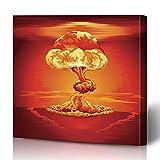 "InterestDecor Canvas Prints Wall Art 16""x16"" Red Orange Atomic Mushroom Cloud Following Nuclear Bang Explosion Bomb Nuke Test Atom Hydrogen Modern Artwork Home Decor Wrapped Gallery Painting"