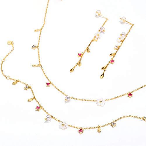 Kunze Conjuntos de Joyas para Mujer, Concha y Flor Diseño de Moda Pendientes/Pulsera/Collar/Conjuntos de Joyas de Plata de Ley 925 con Caja de Regalo