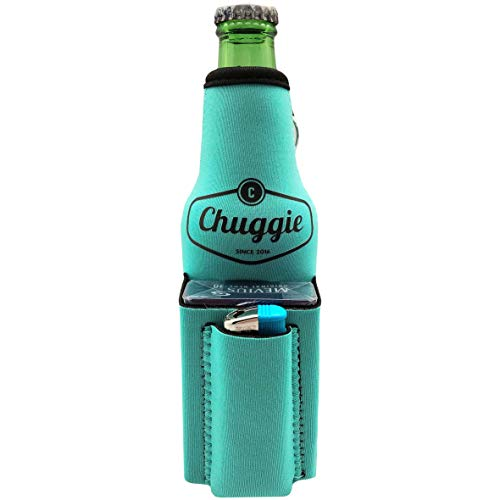 Chuggie Beer Bottle with Two Pockets - Holds Cigarette and Lighter, Phone, Keys, 3mm Neoprene