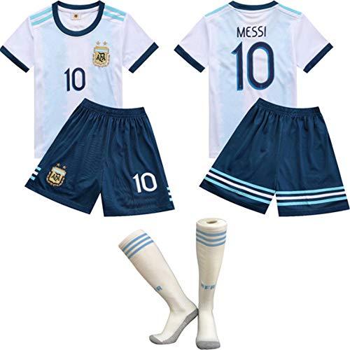 FFF Copa Mundial de Fútbol/Inicio Argentina Messi Jersey/Argentina 2018 Traje de fútbol de Entrenamiento de la Camiseta de Fútbol Jerseys de niños Pantalones Medias/tamaño estándar,Blanco,24