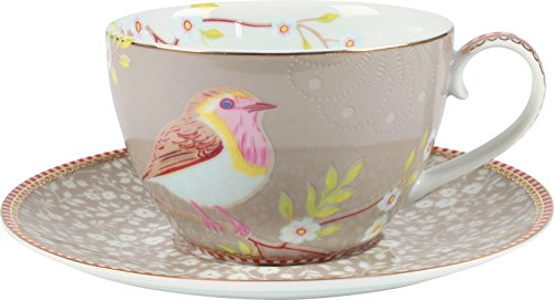 PiP Studio Early Bird Unterteller & Cappuccino Tasse khaki