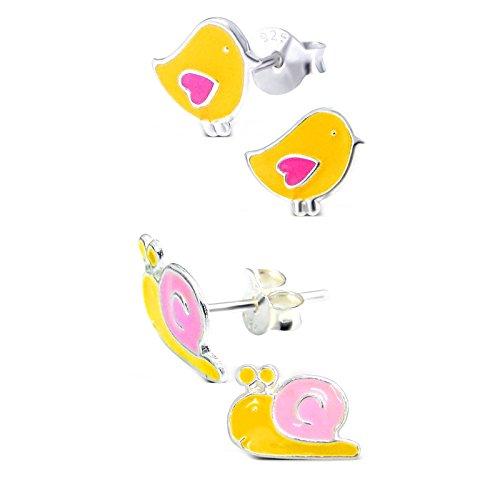 SL-Silver Set aus kinderohr Anelli piccolo uccello e lumaca 925Argento in confezione regalo