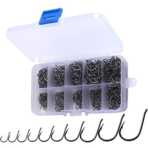 Gobesty Angelhaken, 600 Stück 10 Größen (3-12) Kohlenstoffstahl Angelhaken Haken Angeln mit Kunststoff Box Angelzubehör Set