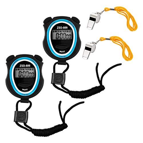 Smilcloud - Set di 2 cronometri digitali con fischietto in acciaio inox, display grande, facile cronometro per calcio, basket, corsa, nuoto, fitness e altro