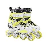 WENJIA Rollers en Ligne Adultes Patins en Ligne pour Homme Roller Skates Inline professionnell,Confortable Mesh Respirant,pour Adolescents/Adultes Rollers en Ligne (Color : Yellow, Size : EU40-41)