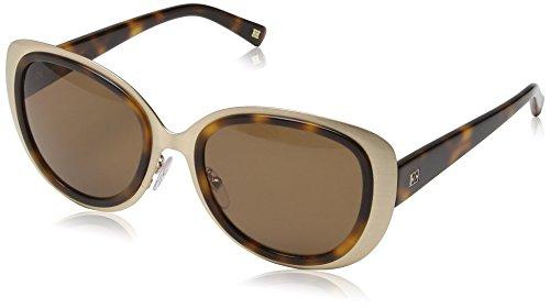 Escada Damen Schmetterling Sonnenbrille, Gr. One Size, Transparent Brown Havana & Beige Detail / Brown Lens