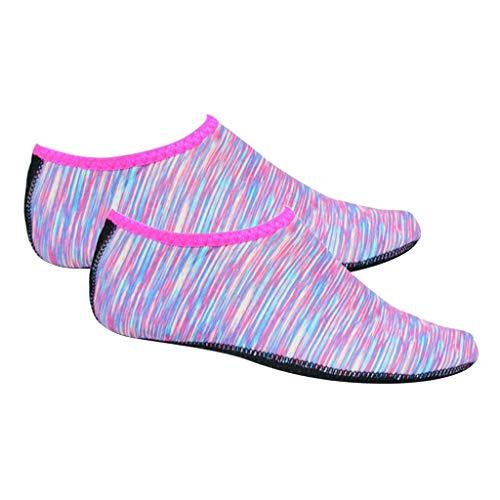 Tongina Ultraleve água sapatos de secagem rápida antiderrapante pele de água portátil descalço nadar meias do aqua para praia piscina surf - Rosa XL