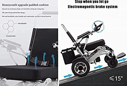 41VpMECcVpS. SL500  - DLXYch Silla de Ruedas eléctrica portátil Plegable de Lujo Potente Silla de Ruedas de Asistencia móvil compacta de Doble Motor - Pesa sólo 26 kg, con 2 baterías - soporta 120 kg (Plata)