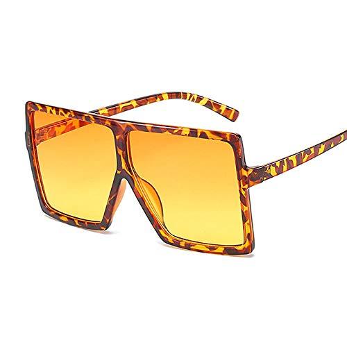 DLSM Gafas de Sol Grandes Gafas de Sol Gafas de Sol Moda Rosa Gafas de Sol Femenina Recetro Vintage Unisex Pesca al Aire Libre Equitación-Naranja Leopardo