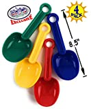 Matty's Toy Stop 8.5' Plastic Rounded Scoop Sand Shovels for Kids (Red, Blue, Green & Yellow) Complete Gift Set Party Bundle - 4 Pack