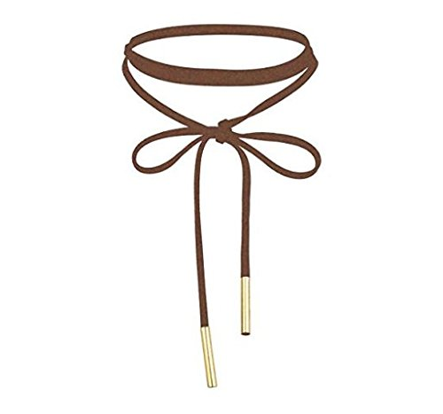 Halo's London Faux Suede Leather Long Ribbon Choker Bow Necklace (Brown)