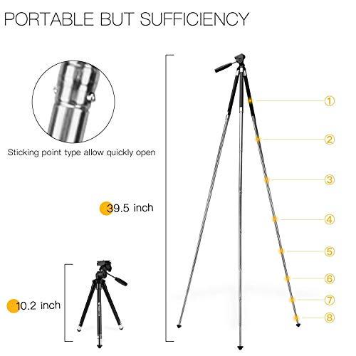 Portable Tripod for Smartphone Samsung Huawei, Fotopro 48.9 Inch Travel Camera Tripods with Phone Mount,Bluetooth Remote,Pan Head Quick Release Plate, Upgraded Thicker Legs