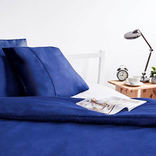 ViscoSoft - Housse de Couette 220x240 en Microfibre touché Ultra Doux | Linge de lit 2 Personnes avec Decoration Jour de Venise | Parure de lit 220x240 Adulte + 2 taies d'oreiller, Bleu Marine