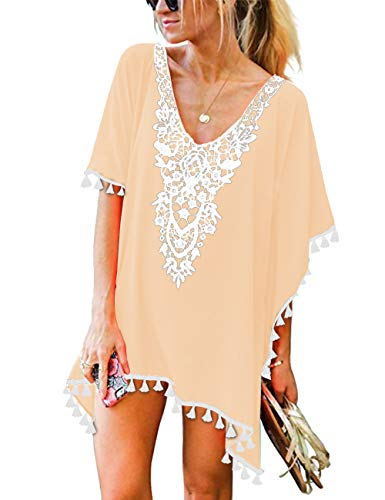 CPOKRTWSO Women's Summer Causal Solid Color Beach Dress Swimsuit Bikini Cover UPS Apricot 2XL / 3XL