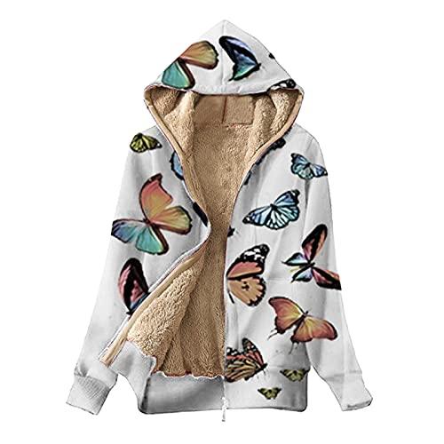Abrigos de invierno para las mujeres caliente mariposa impresión cremallera polar sudadera con capucha abrigo chaqueta, blanco, 4XL