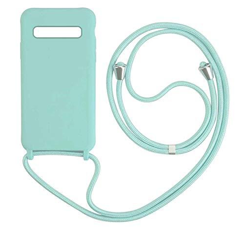 MEIVS Funda Compatible con Samsung Galaxy S8, Ajustable Collar Correa de Cuello CordónCarcasa de Silicona-Verde Claro
