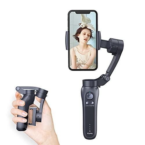 IYUNDUN Stabilizzatore Cardanico per Telefono Cellulare, Giroscopio per Riprese Video con Gimbal Selfie Palmare Anti-Shake, Gimbal Video Liscio per iPhone/Android, Tracciamento Viso/Oggetto