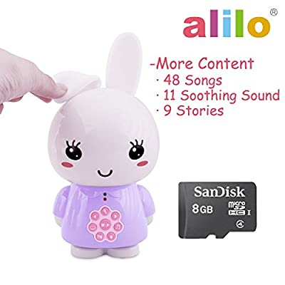 alilo Honey Bunny Mp3 Player for Kids, Baby - 68 Song&Story - 8GB TF Card with Soothing Music - Voice Recorder (Purple) by alilo