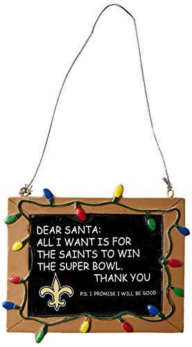 New Orleans Saints Resin Chalkboard Sign Ornament