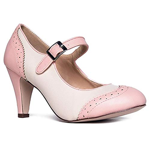 J. Adams Kym Heels for Women - Pink & Cream Retro Mary Jane Oxford Pumps - 7