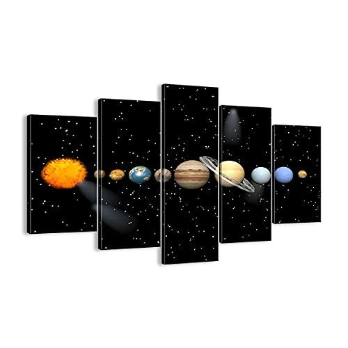 Quadro su tela - 5 Parties - Universo galassia pianeta stelle - 150x100cm - Pronto da appendere - Home Decor - Stampe su Tela - Quadri Moderni - completamente incorniciato - EA150x100-1486