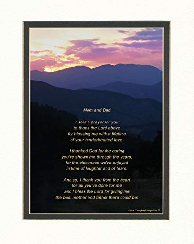 Dad and Mom Gift for Your Parents with Thank You Prayer Poem. Mt...