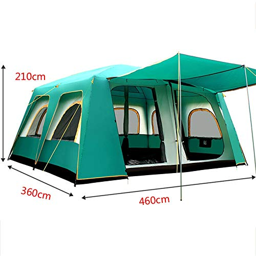 PUEEPDEE Camping Tent Camping Tent 2-Door Instant Tents Windproof 4-Season Freestanding 16-Person for Backpacking 460360210cm Professional Waterproof Tent (Color : Green, Size : 460X360X210cm)