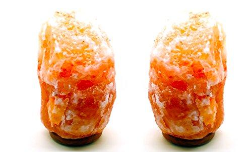 PACK 2 Lámparas Terapéuticas del Himalaya Natural de Sal con Bombilla y Soporte Feng Shui 2-3kg