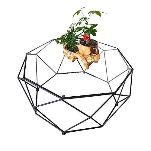 Carl Artbay Home & Selected Furniture/Ronde koffietafel, gehard glazen tafel, woonkamer-sofa, bijzettafel, transparant glazen tafelblad en zwarte metalen basis, 23,6 inch; 17,7 inch