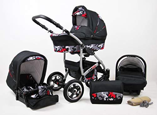Cochecito de bebe 3 en 1 2 en 1 Trio Isofix silla de paseo New L-GO 2 by SaintBaby Black Army 2in1 sin Silla de coche