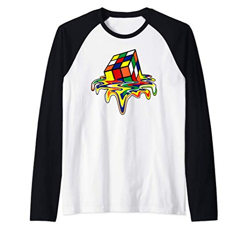 Rubic Rubix Rubik cubo mágico colores impresionante gráfico Camiseta Manga Raglan