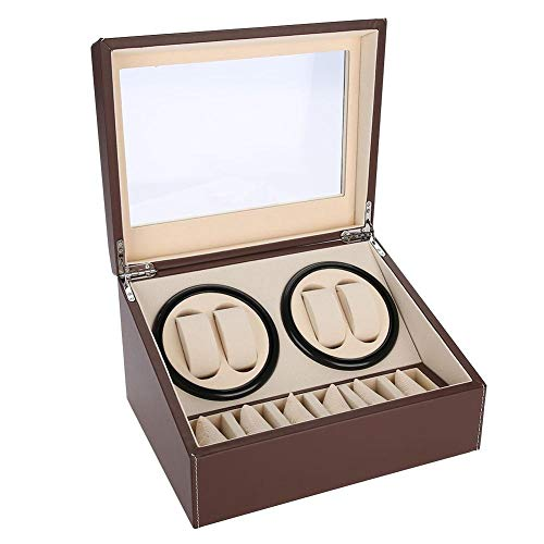 Watch Winder, Watch box, Watch winder box, 4 orologi automatici + 6 griglie Watch box Quiet Multi Rotation Motor(EU Brown)