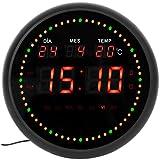 JEVX Reloj Digital de Pared Redondo para Colgar – Segundero Dinamico Circular Atenuador de iluminación Alarma Led Calendario Termometro Clock Medidor de Temperatura Fuente de Alimentacion