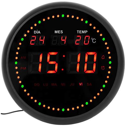 JEVX Horloge numérique murale ronde pour suspendre – Deuxième dynamisme circulaire atténuateur d'éclairage Alarme LED Calendrier Thermomètre Clock Mesure de température Source d'alimentation