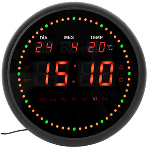 JEVX Reloj Digital de Pared Redondo para Colgar – Segundero Dinamico Circular...