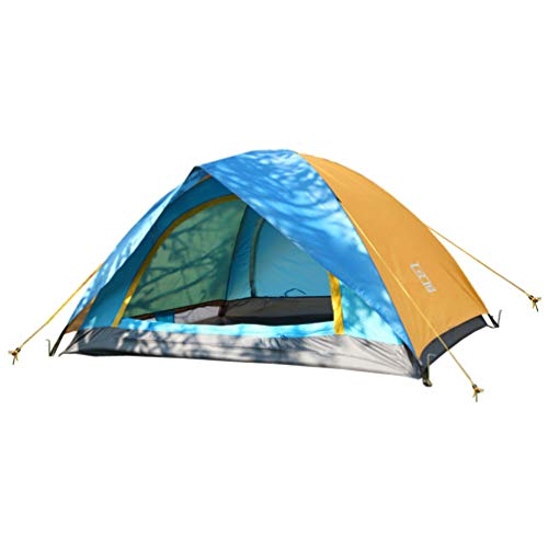 CLISPEED Camping Tent Waterproof Outdoor Mountaineering Tent 2 Persons Portable Mosquito Proof Tent for Camping Hiking Backpacking (Blue and Yellow)