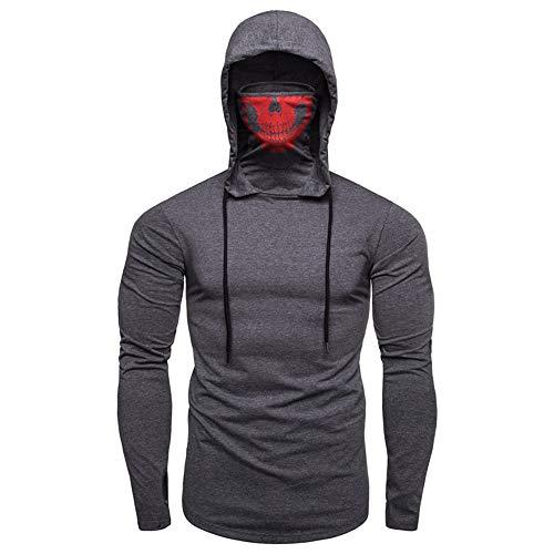 Fitness Kleidung Herren Gym Trainingskleidung Stretch Fitness Herren Kapuze Langarm T-Shirt Gr. XL, grau
