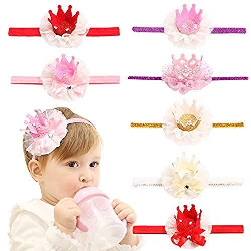 Kroon prinses, kinderen prinses Tiara elastische haarband sprankelende kroon hoofdband 7 stuks